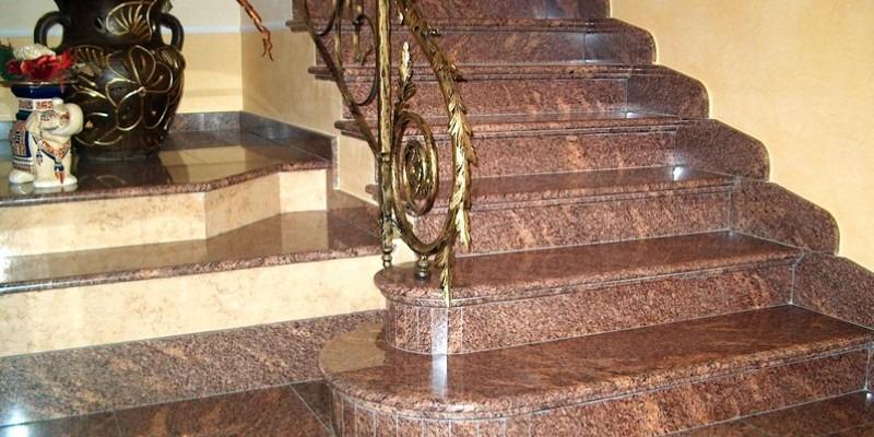 Каменная лестница мрамор Emperador Dark